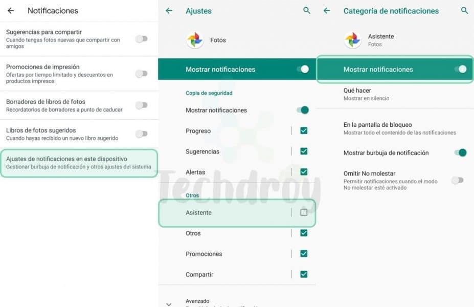Google Photos desactivar notificaciones de AI