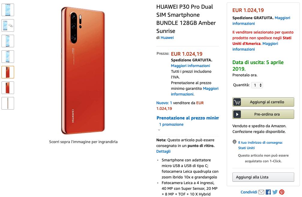 Amazon Italia Huawei P30 filtrado