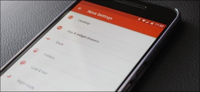 Nova Launcher ajustes en un teléfono
