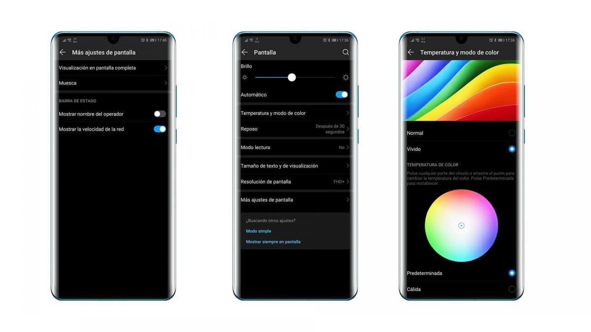 Huawei P30 Pro ajustes de pantalla