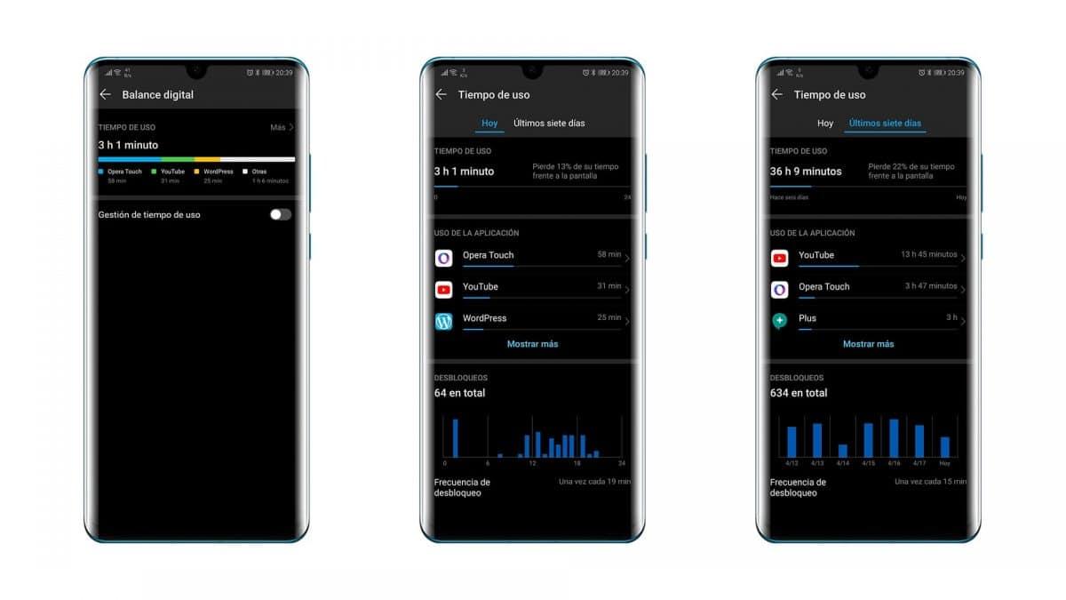 Tiempo de uso Huawei P30 Pro